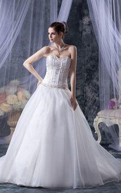 Duchesse-Linie ärmellos pompöse romantisches Brautkleid mit Tüll mit Bordüre
