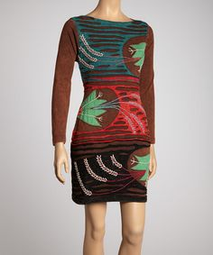 Take a look at this Brown & Green Blossom Dress by Rising International on #zulily today! You could wear this to work.