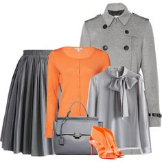 Orange and Gray by danigrll on Polyvore featuring polyvore, fashion, style, Chicwish, Burberry, Nicholas Kirkwood and Lanvin