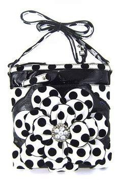 Cross Body Adjustable Strap Hipster Bag Soft Polka Dots 3d Raised Flower Purse Black $29.99