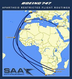The effects of geopolitics on travel - South African Airways flight routes during apartheid era Airline Travel, Air Travel, Era Album, South African Air Force, Nostalgia, Jets, Scotland Holidays, Boeing Planes, Boeing 747