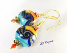 Orange Blue and Turquoise Lampwork Glass Earrings by BZOriginals, $24.95 - New earrings with matching necklace.  Love the colors!  Beach time!