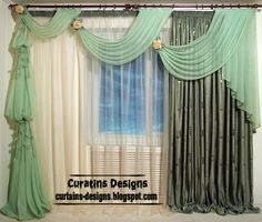 Unique Curtain designs, French curtain models, green curtains, French window curtains