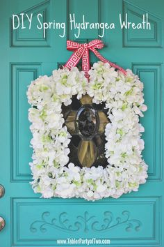 diy square spring hydrangea wreath