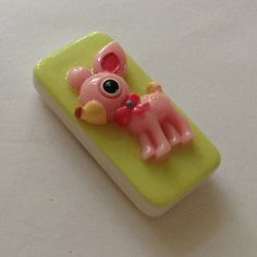 Magnet Kawaii Pink Doe Eyed Fawn Deer On Domino by KawaiiWhimsy, $5.00