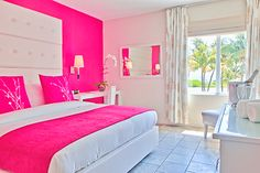 Looking for inspiration to decorate your daughter's room? Check out these Adorable, creative and fun girls' bedroom ideas. room decoration, a baby girl room decor, 5 yr old girl room decor. Hot Pink Bedrooms, Pink Bedroom Walls, Pink Bedroom Design, Pink Bedroom For Girls, Pink Bedroom Decor, Baby Girl Room Decor, Bedroom Ideas, Trendy Bedroom, Comfy Bedroom