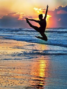 Ballet dancer at sunrise