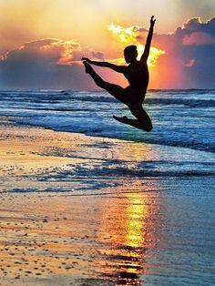 Ballet dancer at sunrise