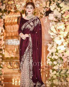 Love the pure elegance of this sari 🌹 📷: Pakistani Fashion Party Wear, Pakistani Wedding Outfits, Indian Bridal Fashion, Bridal Outfits, Lehenga Wedding, Shadi Dresses, Pakistani Formal Dresses, Pakistani Dress Design, Desi Wedding Dresses