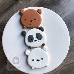 We bare bears! In tsum tsum form 🤣🤣🤣 Cute Desserts, Delicious Desserts, Dessert Recipes, Yummy Food, Bolo Tumblr, Kreative Desserts, Plat Vegan, Cute Baking, Bear Cookies