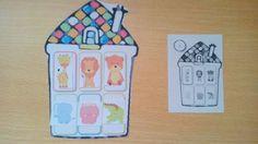 Treino de orientação espacial: Colocar os animais na casa de acordo com a imagem modelo.