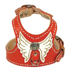 Custom Leather Dog Harness-Red with Angel Wings- Size Tiny thru Med. on Etsy, $120.00