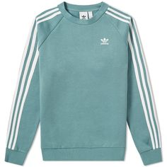 Adidas Originals Adidas 3 Stripe Crew Sweat In Green Adidas Jumper, Adidas Outfit, Nike Outfits, Adidas Sweaters, Adidas Jacket, Adidas Long Sleeve Shirt, Long Sleeve Shirts, Addidas Shirts, Trendy Hoodies