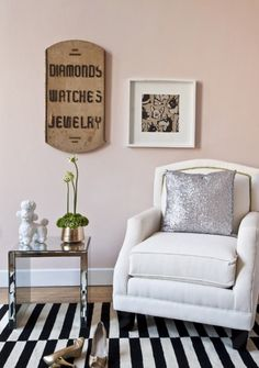 black and white? I'm not brave enough for a white chair, but I love this idea. Maybe a light subtly patterned chair....