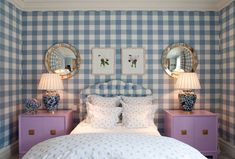 lilac nightstands.