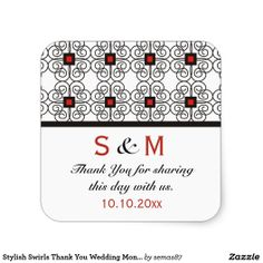 A stylish black and white design with red highlights give the right designer touch to your thank you #weddingsticker.Personalize with your #monogram.