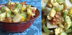 La meilleure salade fraîcheur 2 tiges de céleri-branche - 1 pomme Granny Smith - 1 orange - 1 avocat - une petite boite de maïs - 1 citron - 2 fruits de la passion - 4 cuillères à soupe d'huile de graines de sésame - quelques graines de lin - sel et poivre