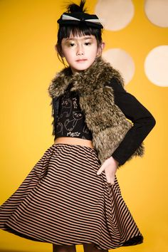 Deux Par Deux | Fall/Winter 2017 - Chat Cha Cha Collection #winter2017 #winter #2017 #girls #fashion #outfit #kids #roses #hiver2017 #hiver #2017 #filles #mode #enfants #tendance #vintage #cat #fakefur #fourrure #chat #stripedress #robe