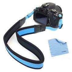 <$10.00    BIRUGEAR Blue Anti-Slip Soft Neoprene Camera Shoulder/Neck Strap + Cloth for Canon EOS SL1 T5 T5i T4i T3i T3 T2i; SX500 IS, SX50 HS, G15; Ni...