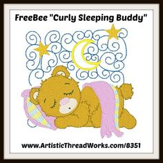 "Free ""Curly Sleeping Buddy"" machine embroidery design download. Nancy Smith, Cute Owl, Forest Animals, Bedtime, Mornings, Machine Embroidery Designs, Free Design, Baby Animals, Spiritual"