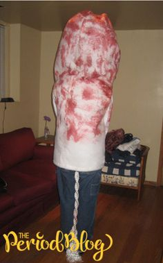 Used tampon costume  http://www.theperiodblog.com/blog/10-spooky-period-costumes-halloween/