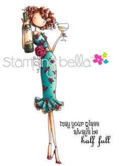 """<3 New release at Stamping Bella - Uptown Girl """"Opal the Optimist""""    Coloured by Elaineabella    #rubberstamps #stamping #cards #papercrafts"""