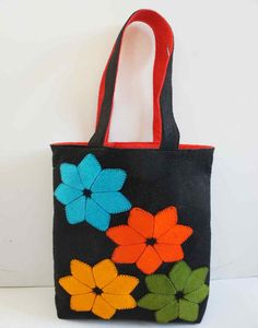 Felt Bag Applique With Flower  Handmade  Shoulder Felt by FeltMkr, $29.00