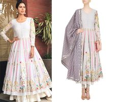 Sonam Bajwa in Sonali Gupta's Off White Thread Embroidered Anarkali Set.  #sonaligupta #sonambajwa #getthelook #celebcloset #celebstyle #contemporarywear #indianfashion #Indiandesigners #shopnow #perniaspopupshop #happyshopping