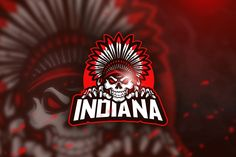 , Indiana - Mascot & Esport Logo- Suitable for your design needs, All elements on this template are editable with adobe illustrator! 2 Logo, Game Logo, Indiana, Coreldraw, Graphic Design Templates, Logo Templates, Logo Inspiration, Adobe Illustrator, Cores Rgb