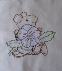 Mouse & Pansy block by Morning Sky, via Flickr