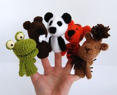 5 finger puppet crocheted frog tiger castor panda by crochAndi, $30.00