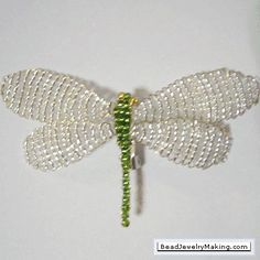 Beaded Dragonfly link with tutorial (size 11/0 seed beads and 25 or 30 gauge beading wire)