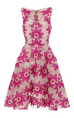 Sleeveless Hibiscus Embroidery Cocktail Dress by ZAC POSEN Now Available on Moda Operandi
