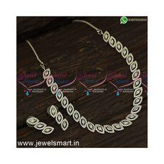 American Diamond Jewellery, Diamond Jewelry, Gold Jewelry, Imitation Jewelry, Gold Plated Necklace, Jewelry Patterns, Necklace Designs, Necklace Set, Jewelry Design