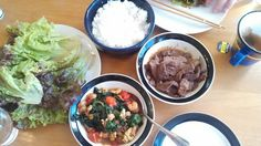 酢飯で韓国風肉巻き&エビの炒め物