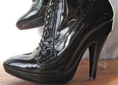 BURBERRY black patent platform granny boots - sz 39, 8-8.5. On ebay $249