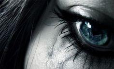 art, black and white, blue eye, blue eyes, closeup, cry