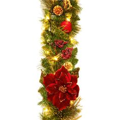 This garland has gorgeous burgundy poinsettia flowers and lights already built in. For indoor use only. 1.8m length. Comes with standard 3 pin UK plug.
