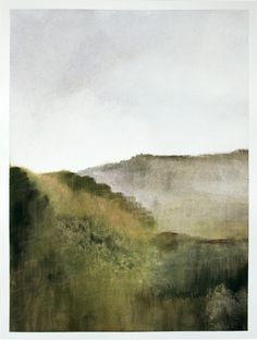 Original gouache painting abstract italian landscape.