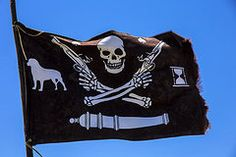 Skeleton Art - Pirate flag with skull and pistols  by Garry Gay