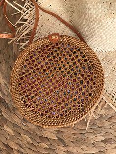 Round Rattan net pattern bag round rattan basket bag round