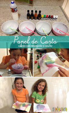 Atividade com bolhas que viram estampa de papel de carta - #crianças #tempojunto #façavocêmesmo