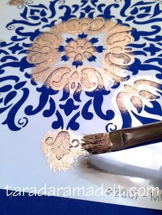 Stenciling on Fabric with Metallic Paint   Barcelona Tile Modern Masters Stencil via Royal Design Studio   Project by Tara Dara Made It