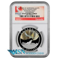 2014 Canada $20 Proof Silver Hologram Howling Wolf NGC PF69 UC   This coin captures the magic of the northern lights, and if you've ever experienced them firsthand, you know this incredible phenomenon is really beyond words; shimmering waves of light that can leave you breathless. And if you've never seen the northern lights, the captivating colors on this pure silver hologram coin. Earth's great lightshow accompanied by the sound of howling wolves. Visit www.isnmoderncoins.com/33757