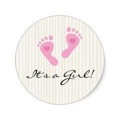 Stickers: Baby girl pink footprints - It's a Girl!
