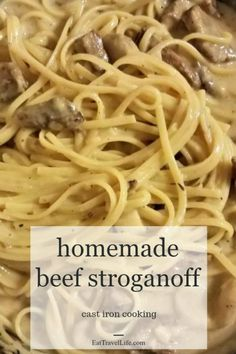 PIN TO MAKE LATER: Leftovers make meals second time around meals easier.Checkout this cast iron beef stroganoff recipe made from leftover pot roast. beef recipe how to make beef stroganoff in cast iron pan - Eat Travel Life Chuck Roast Recipes, Corned Beef Recipes, Pot Roast Recipes, Tofu Recipes, Recipies, Homemade Beef Stroganoff, Stroganoff Recipe, Leftover Roast Beef, Leftover Beef Recipes