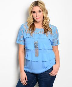 Women Tiered Top Blue Lace Yoke Scoop Neck Short Lace Sleeves Size 2XL Blouse #IRE #Blouse #Career