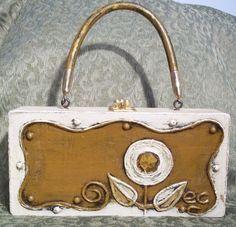 Enid Collins Paper Mache Box Purse Ivory Flower   eBay
