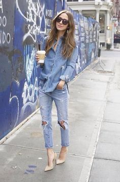 Lovely blue jeans outfit!