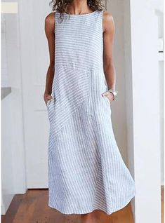 Cotton Striped Dresses Crew Neck Light Gray Women Dresses Shift Daily - - roselinlin Shirt Dress 1 Casual Dresses Daily Shift Crew Neck Sleeveless Paneled Casual Dresses Source by margsupplitt Maxi Dress With Sleeves, Short Sleeve Dresses, Maxi Dresses, Shirt Dress, Fashion Dresses, Dress Tops, Party Dresses, Loose Dresses, Sleeveless Dresses